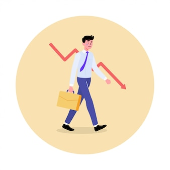 Tristesse et stress face émotionnelle de l'homme d'affaires. concept d'échec des affaires et de l'économie.