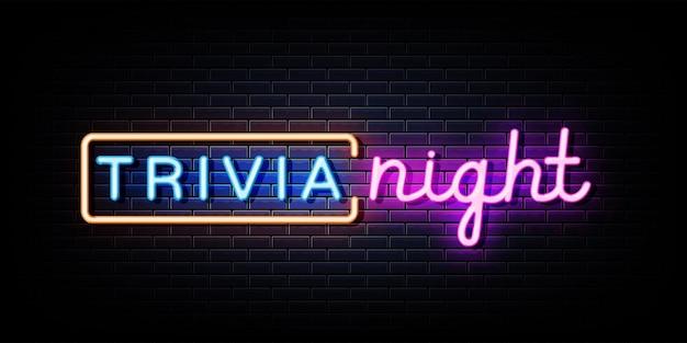 Trivia night neon sign sur mur noir