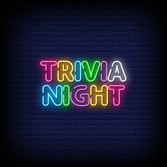 Trivia night neon signs style texte