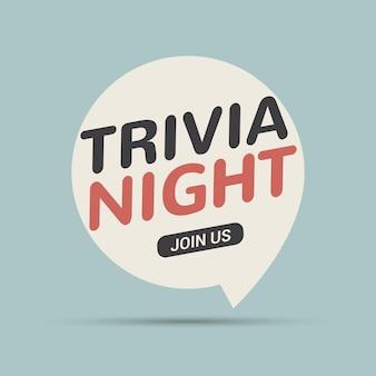 Trivia nuit icône bulle rétro signe. jouez au jeu de cerveau amusant, apprenez le symbole vintage.