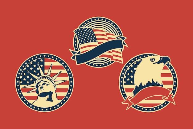 Trois badges de jeu d'indépendance des états-unis