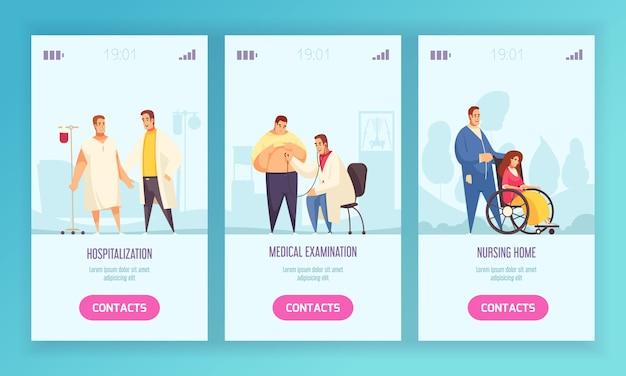 Trois bannière verticale médicale sertie d'examen médical d'hospitalisation et de titres de maison de soins infirmiers illustration vectorielle