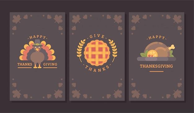 Trois bannières d'automne sombres.