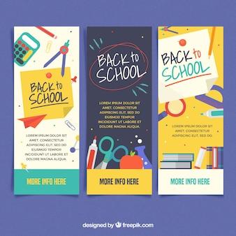 Trois bannières créatives de retour à l'école