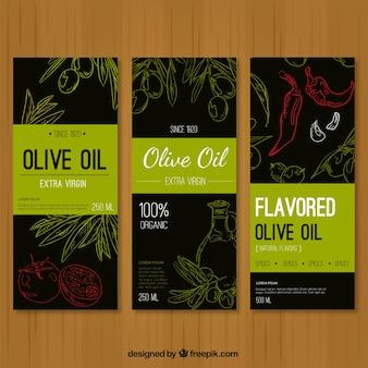Trois bannières croquis d'huile d'olive