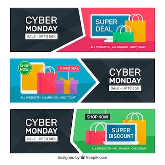 Trois bannières de cyber lundi plat