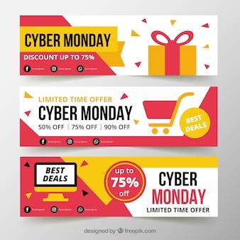 Trois bannières cyber lundi