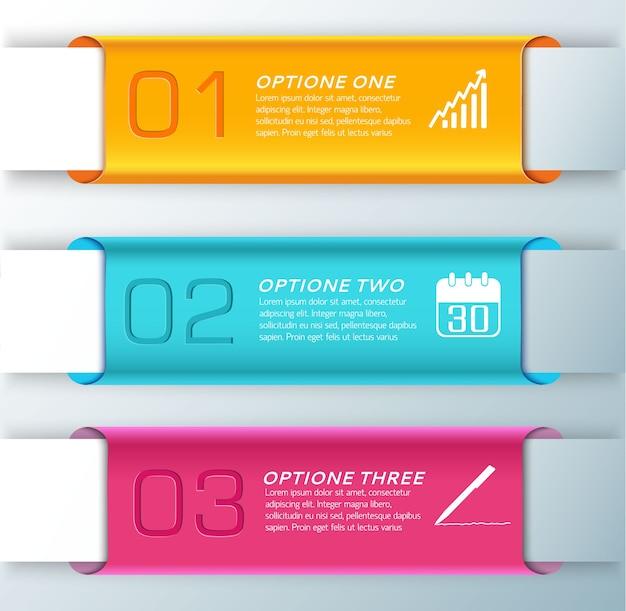 Trois bannières élégantes horizontales orange bleu clair et orange pour illustration de présentation