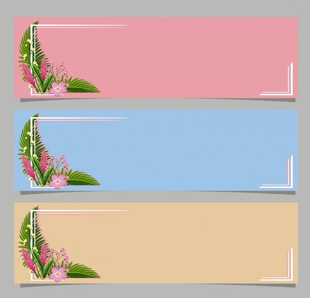 Trois bannières avec des fleurs roses