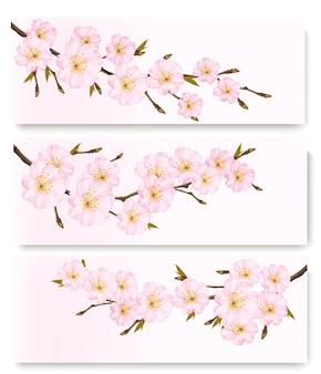 Trois bannières de fleurs. vecteur.