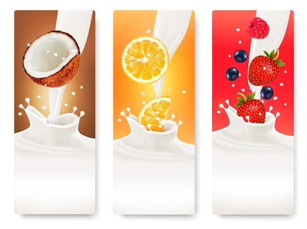 Trois bannières de fruits et de lait.