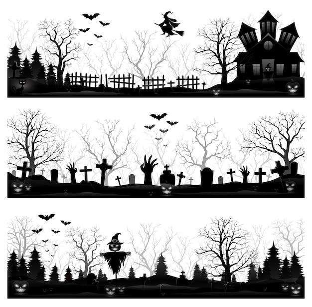 Trois bannières d'halloween