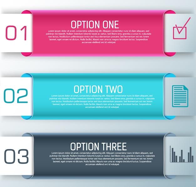 Trois bannières horizontales élégantes avec des titres et des étapes pour créer des présentations