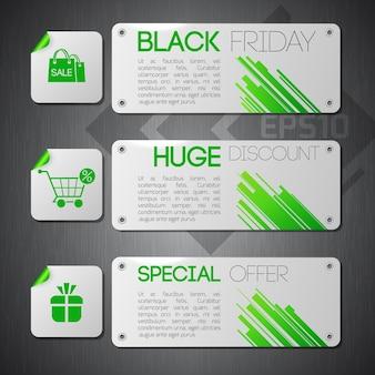 Trois bannières identiques définissent la composition avec des informations sur le vendredi noir