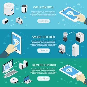 Trois bannières isométriques horizontales pour appareils ménagers avec contrôle wifi description de la télécommande de cuisine intelligente
