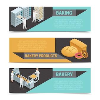 Trois bannières isométriques horizontales d'usine de boulangerie de couleur