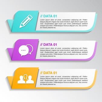 Trois bannières mignon avec des options pour une infographie