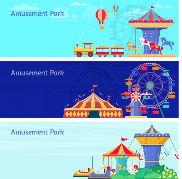 Trois bannières de parc d'attractions avec différents carrousels, balançoires et grande roue. illustration