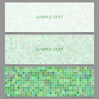 Trois bannières avec des pixels verts