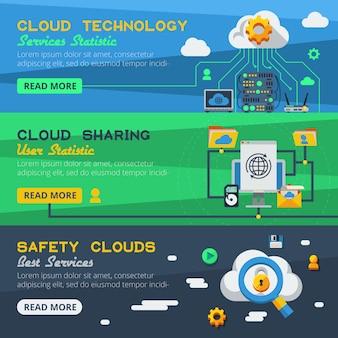 Trois bannières de services cloud