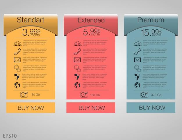 Trois bannières tarifaires. tableau de tarification web. pour l'application web. fixez les tarifs. plan pour le site web en appartement.