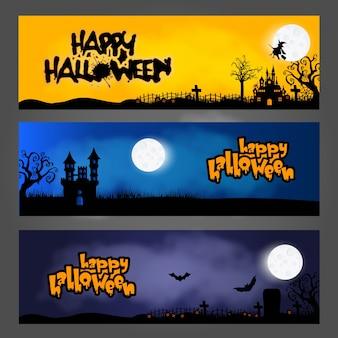 Trois bannières / en-têtes ou pieds de page de halloween, conçus