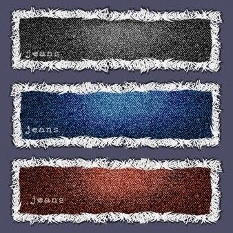 Trois bannières de texture denim