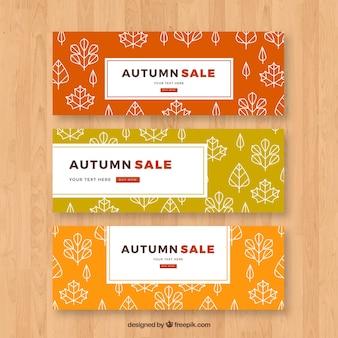 Trois bannières de vente automne