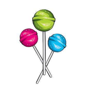 Trois bonbons sur un bâton.