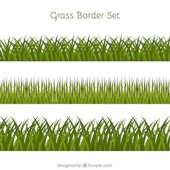 Trois bordures d'herbe en conception plate