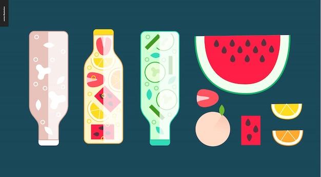 Trois bouteilles et des fruits