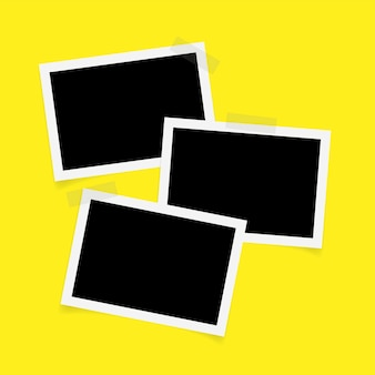Trois cadres photo rectangle avec ruban adhésif