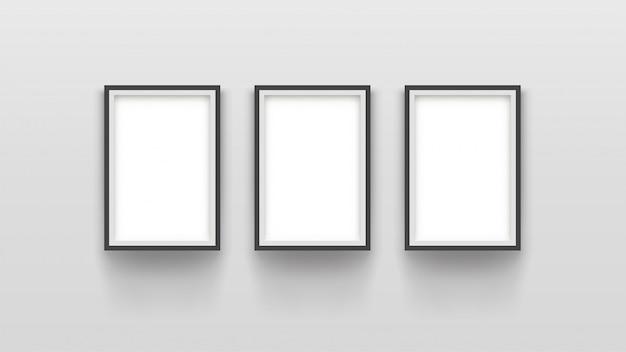 Trois cadres simples sur gris