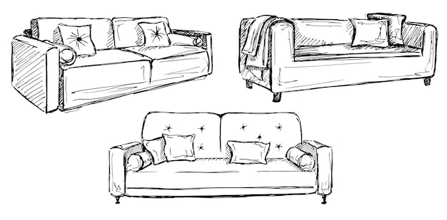 Trois canapés isolés sur un espace blanc.illustration vectorielle dans un style de croquis.