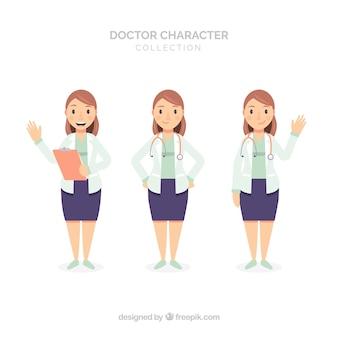 Trois caractères différents de femme médecin