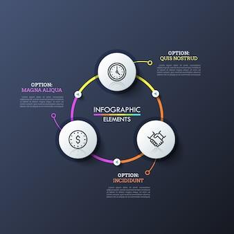 Trois cercles blancs avec des icônes linéaires à l'intérieur connectés par des lignes lumineuses et des boutons de lecture. disposition de conception infographique moderne.