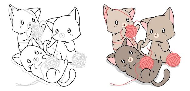 Trois chats jouant avec des boules de laine coloriage de dessin animé pour les enfants