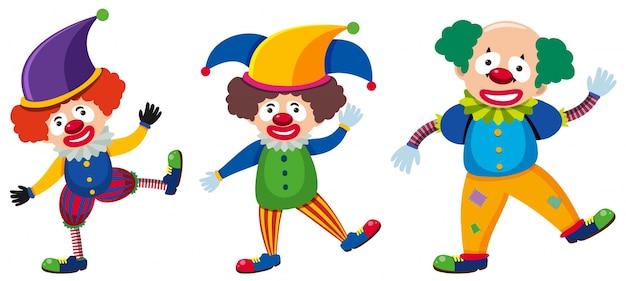 Trois clowns avec des costumes différents