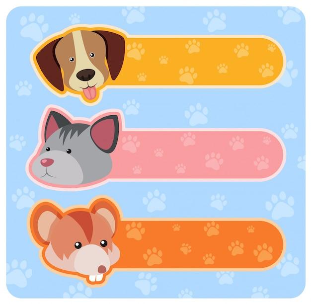 Trois conceptions de bannière avec des animaux marrants