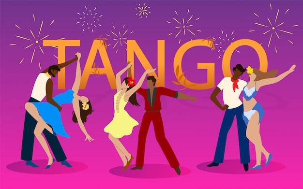 Trois couples danseurs en costumes dansant le tango.