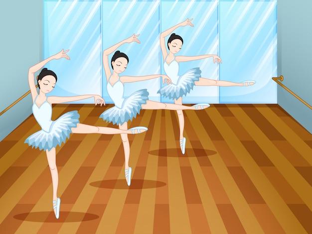 Trois Danseurs De Ballet à L'intérieur Du Studio Vecteur Premium
