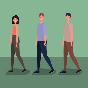 Trois dessins animés femme et hommes marchant conception de vecteur