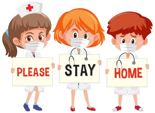 Trois Docteur Tenant S'il Vous Plaît Restez à La Maison Police Vecteur Premium