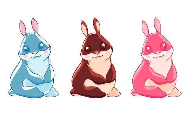 Trois drôle de lapin de pâques. célébration du printemps