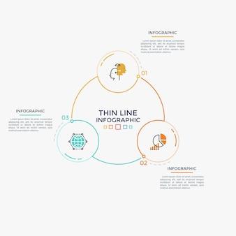 Trois éléments circulaires avec des pictogrammes linéaires et des chiffres à l'intérieur connectés dans un diagramme en forme d'anneau. visualisation de processus cyclique. modèle de conception infographique minimal. illustration vectorielle moderne.