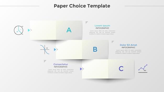 Trois éléments rectangulaires blancs en papier avec des lettres disposées en escaliers descendants, des symboles de ligne fine et un emplacement pour le texte. concept de 3 options au choix. disposition de conception infographique. illustration vectorielle.