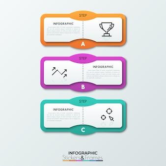 Trois éléments rectangulaires lettrés placés l'un sous l'autre, des zones de texte et des signes de fine ligne à l'intérieur.