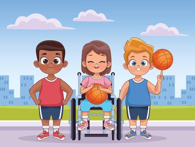 Trois enfants handicapés jouant