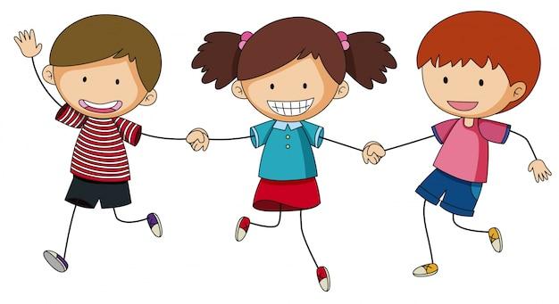 Trois enfants tenant par la main