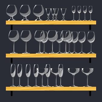 Trois étagères avec des verres. ensemble de verres différents dans le style cartoon. vecteur
